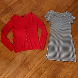 Bodycon t-shirt dress and red cardigan bundle